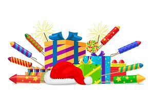 Fireworks, Rockets, Gift Boxes and Santas Hat Set