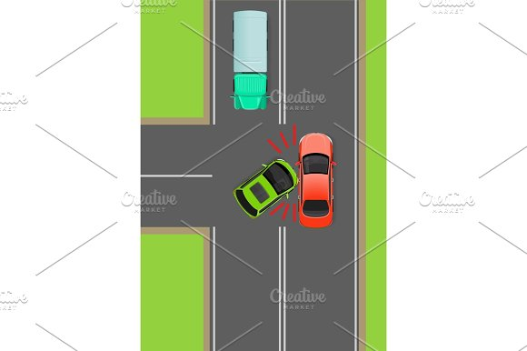 Clash Of Cars On T-Junction Flat Vector Diagram