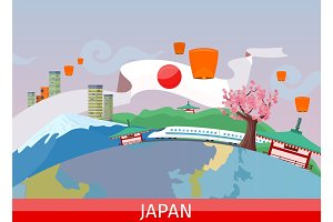 Japanese Tourist Attractions Flat Vector Concept