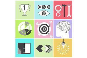 Icon set brain light bulb darts targ