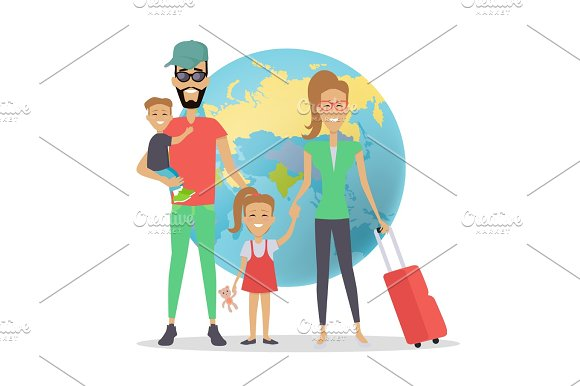 Happy Family Trip Traveling Concep
