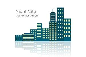 Night City Vecor Illustration on White Backgrpund.