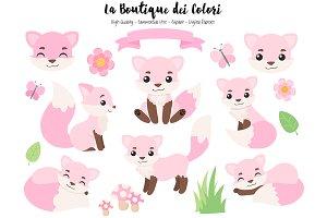 Pink Fox Clipart