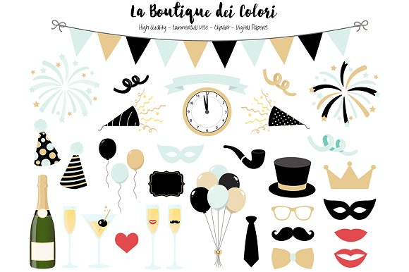 Mint And Gold New Years Clipart