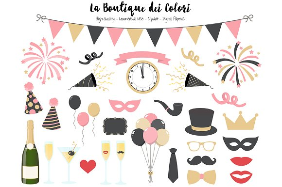 Pink And Gold New Years Clipart
