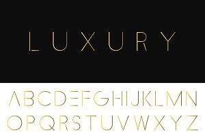 Luxury minimal alphabet. Gold font