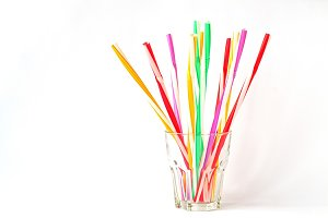 Multicolored cocktail straws