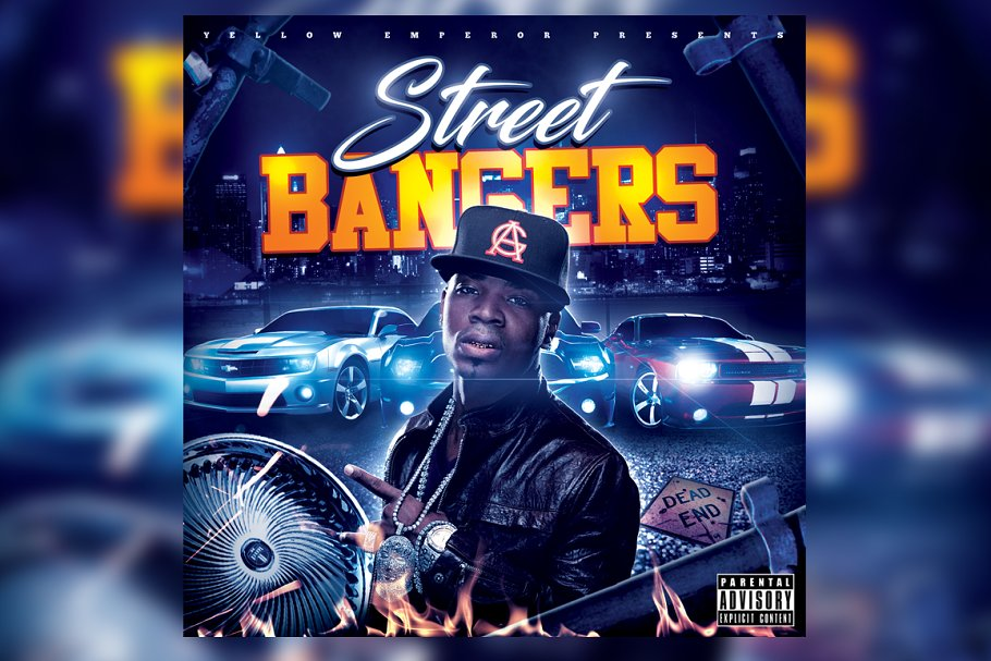 Street Bangers Mixtape CD Cover in Templates