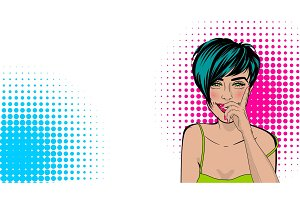 Pop art cartoon comic sexy woman