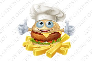 Cartoon chef burger and fries