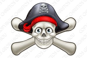 Pirate Cartoon Skull and Crossbones