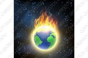 Earth World Globe on Fire