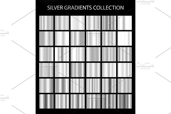 36 Vector Silver Gradients