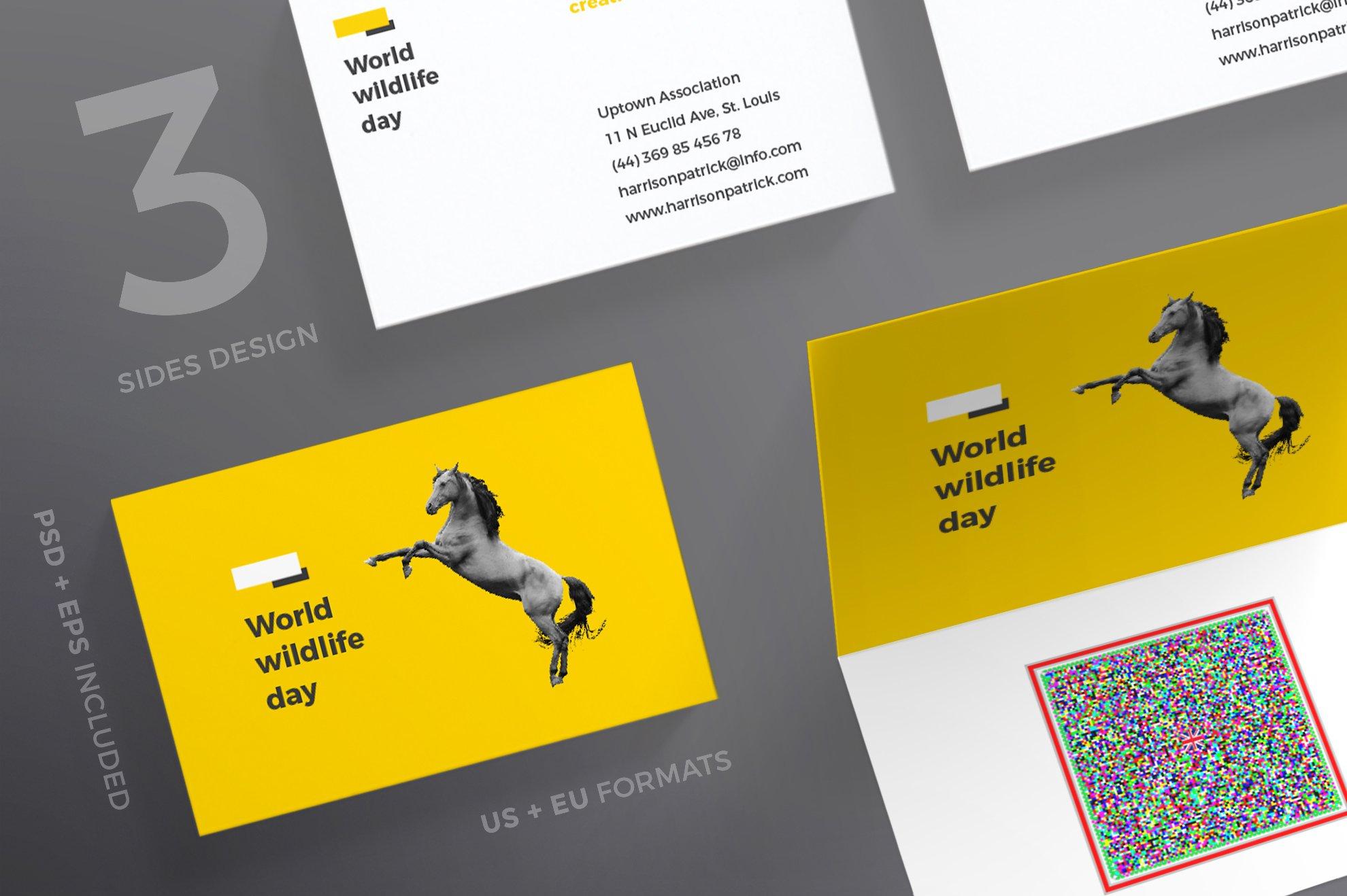 Business Cards World Wildlife Card Templates Creative Market