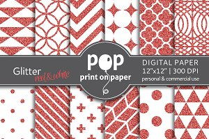 Glitter Red & White Digital Paper