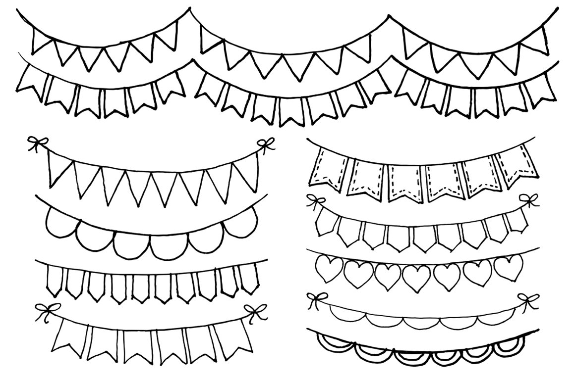 Hand Drawn Bunting Clipart ~ Illustrations ~ Creative Market