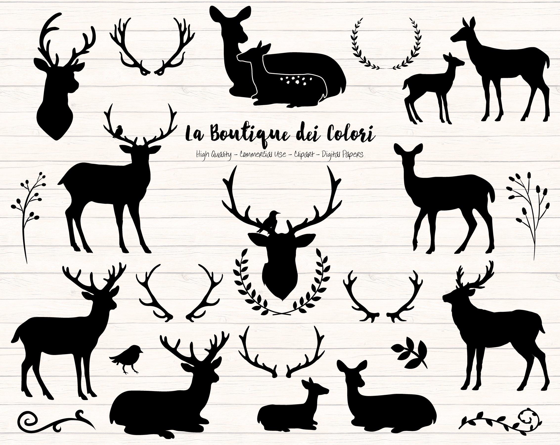 Deer Silhouette Clipart ~ Illustrations ~ Creative Market