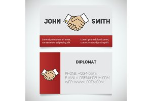 Business card print template with handshake logo