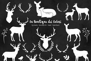 White Deer Silhouette Clipart