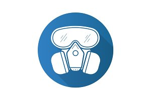 Gas mask flat design long shadow icon