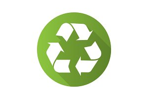 Recycle symbol. Flat design long shadow icon