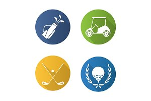 Golf championship flat design long shadow icons set