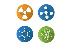 Chemistry and physics. Flat design long shadow icons set