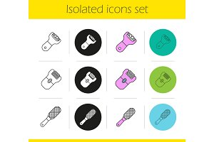 Feet care equipment icons set