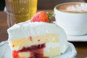 strawberry cake on coffee shop