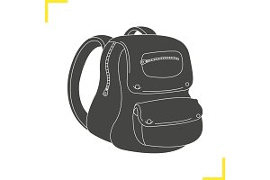 School backpack glyph illustration