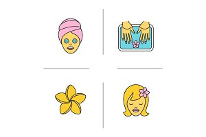 Spa salon color icons set