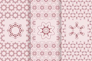 3 vector red seamless patterns