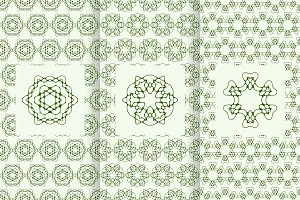 3 vector green seamless patterns