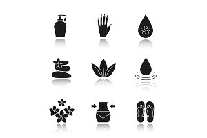 Spa salon drop shadow black icons set