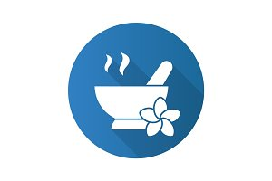 Spa salon mortar and pestle. Flat design long shadow icon