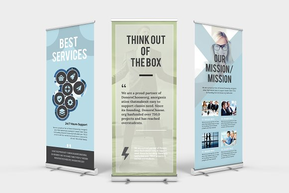 roll up banner stationery templates creative market