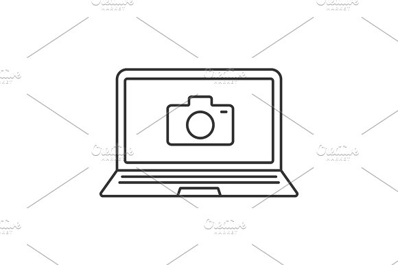 Laptop Photocamera Linear Icon