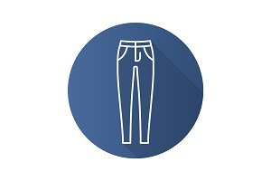 Women's skinny jeans. Flat linear long shadow icon