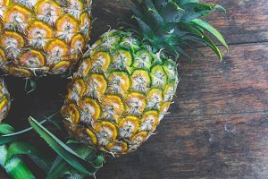 pineapple on wood table