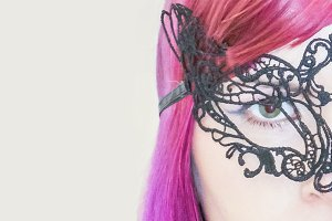 Beauty Eyes Woman With Venetian Mask Background