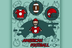 American football flat concept icons