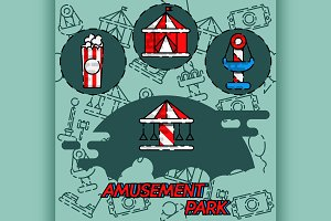 Amusement park flat concept icons