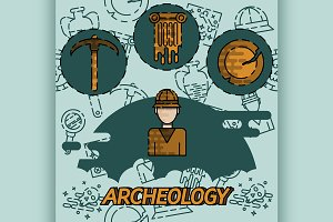 Archeology flat concept icons