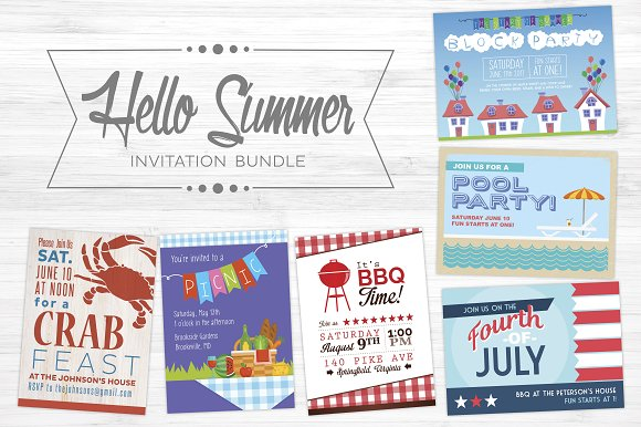 Hello Summer 6pack Invitation Bundle