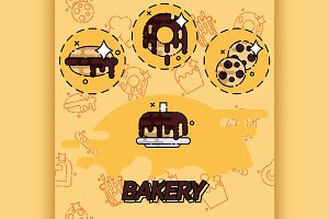 Bakery flat concept icons