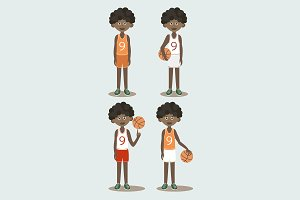 Basketball players set
