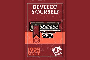 Color vintage books shop banner