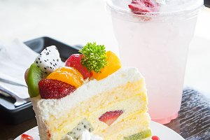 fruit cake and beverage