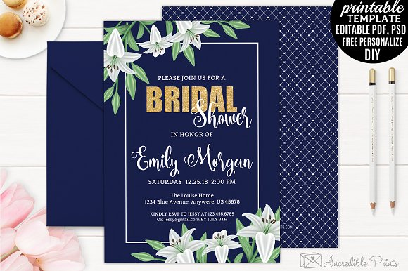 navy and gold bridal shower invite invitations