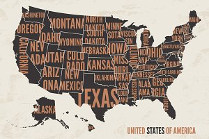 USA map vintage illustration